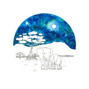 Adorable Elephant Family drawing, an artwork that express balance and quiet