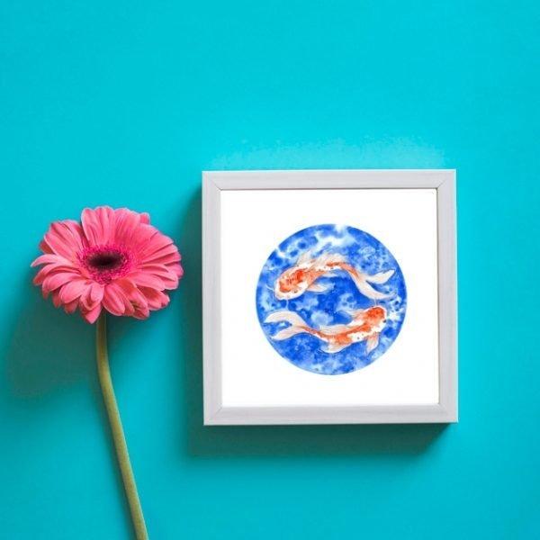 Red Koi Fish Watercolour Wall Art
