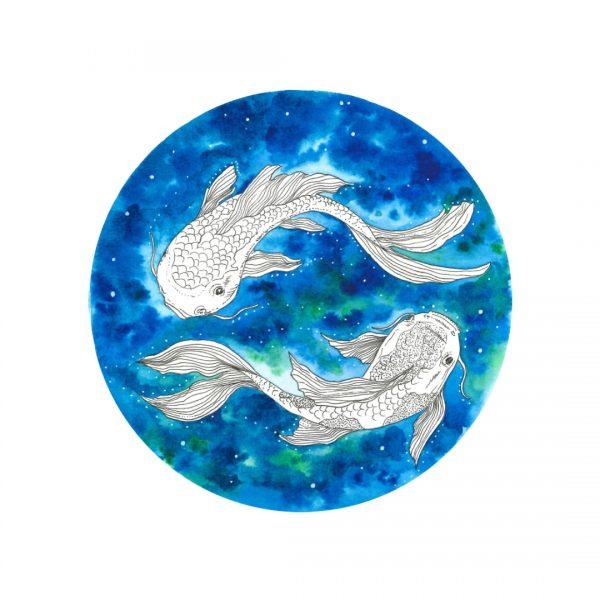 Koi Fish Watercolour painting