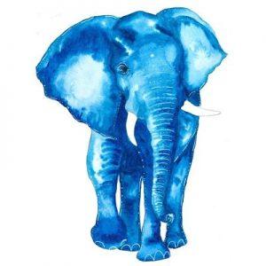 blue elephant wall art