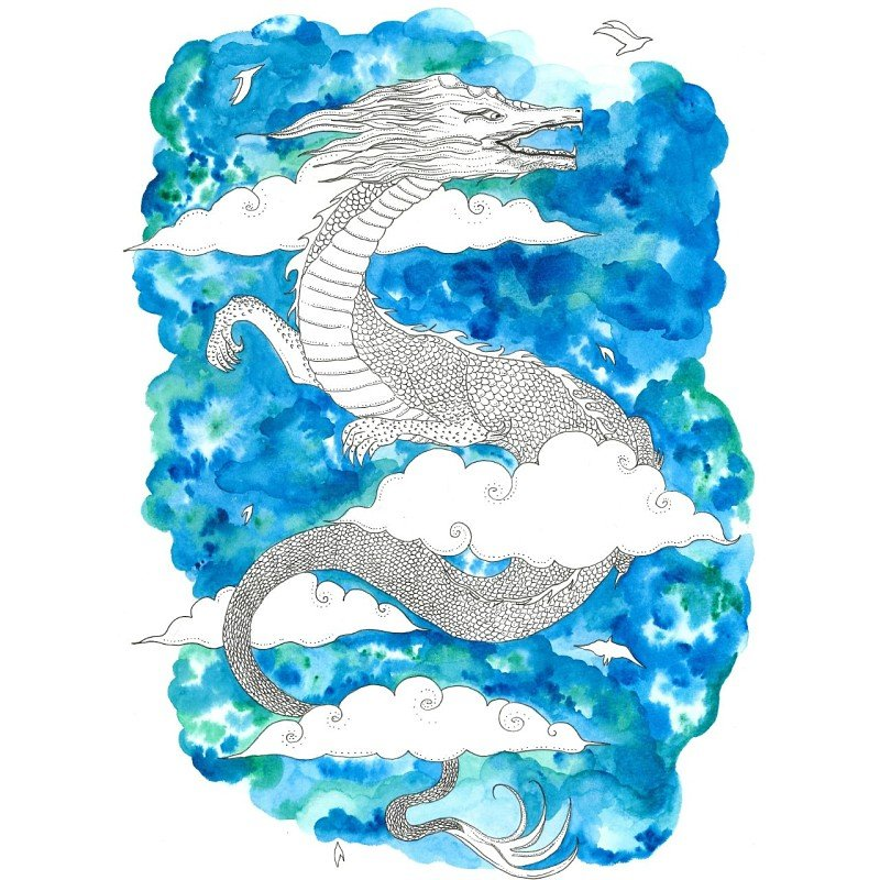 Chinese Dragon Watercolor