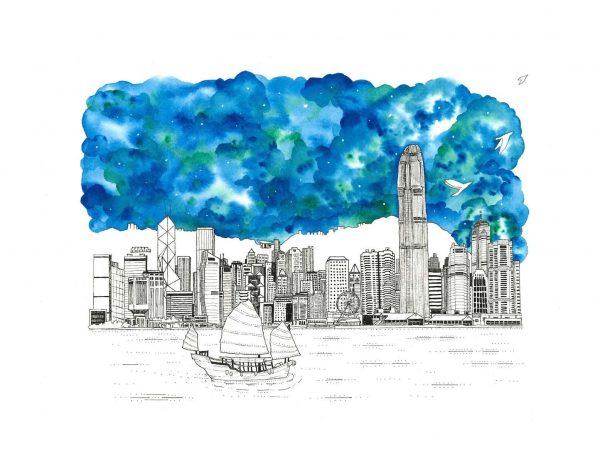Hong Kong Skyline Painting - Fine Art Print