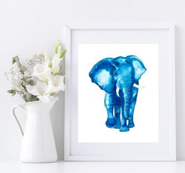 Blue Elephant Framed Wall Art