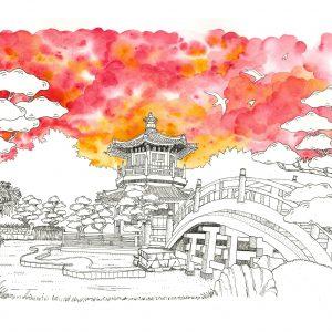 Chi Lin Nunnery watercolor