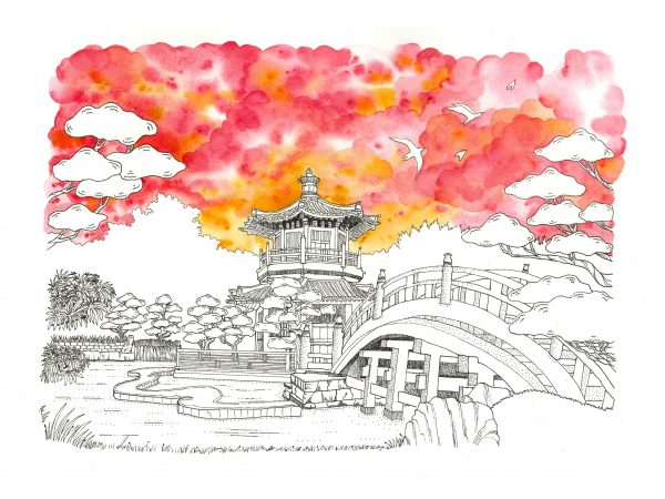 Chi Lin Nunnery watercolor