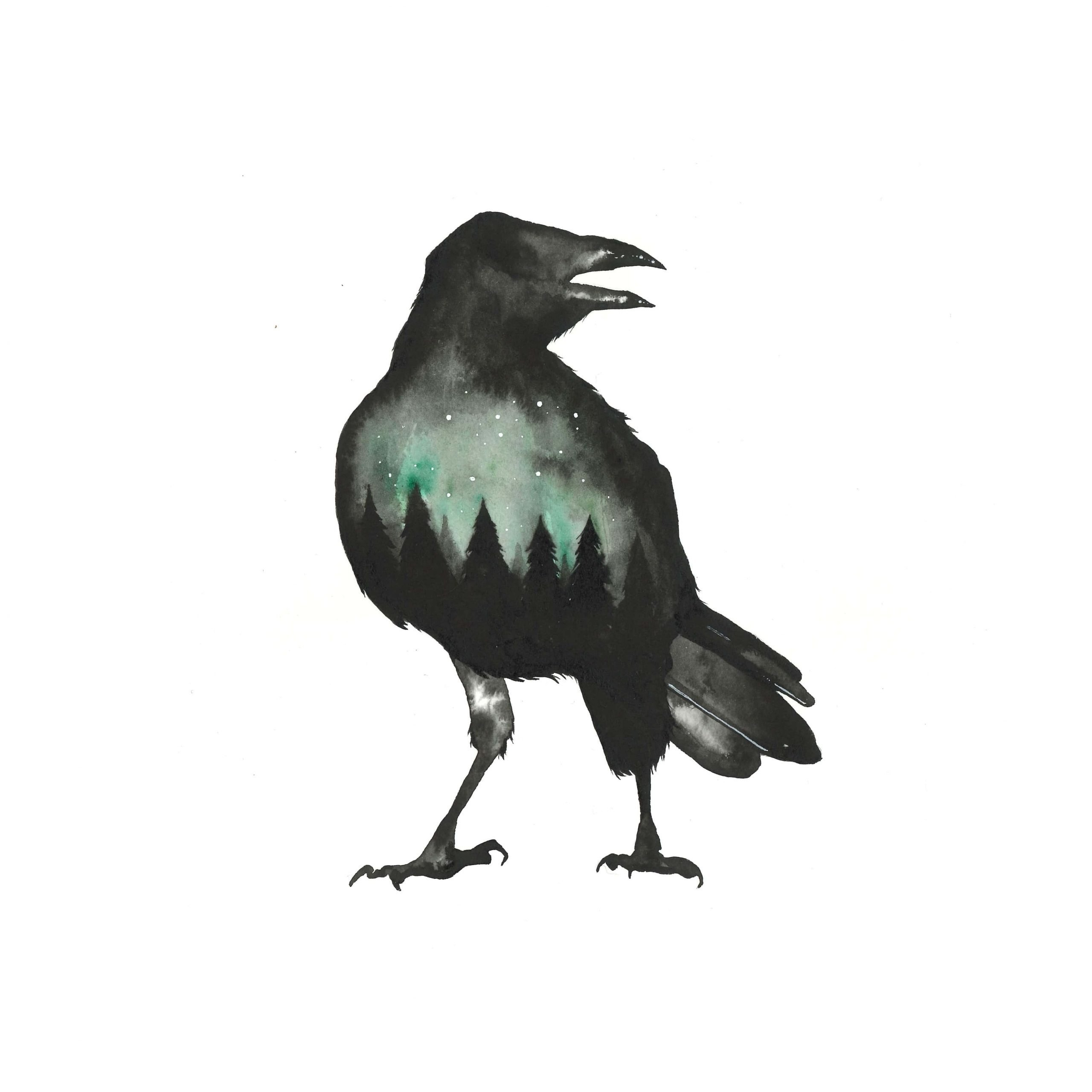 Black Crow   Art Print   Watercolor Dark Forest - The ...