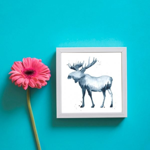 Moose with dark forest watercolor wall art
