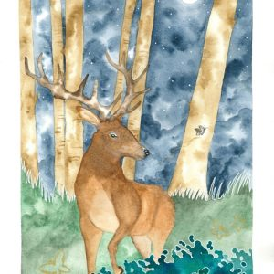 Moonlight Deer painting