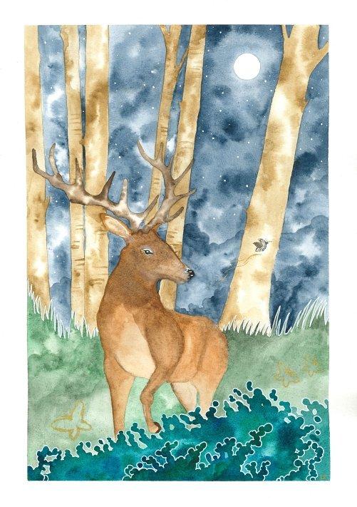 Moonlight Deer painting