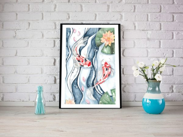 Koi Dance Modern Wall Art
