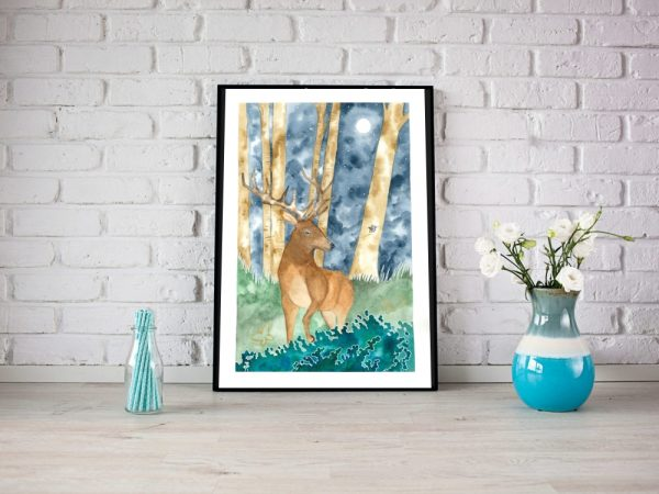 Moonlight Deer wall art