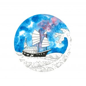 Aqua Luna sailing, Junk Boat Illustration, Hong Kong painting